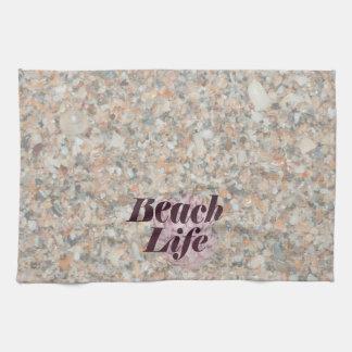 la vida de la playa lavó la concha de peregrino ma toallas de cocina