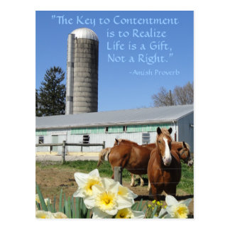 La vida de la postal de Amish es un regalo. Añada