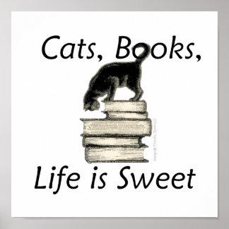 La vida de los libros de los gatos es dulce póster
