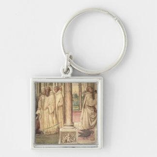 La vida de St. Benedicto (fresco) (detalle) 2 Llavero Cuadrado Plateado