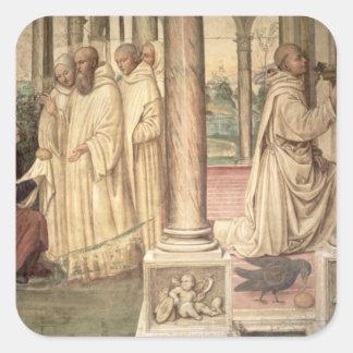 La vida de St. Benedicto (fresco) (detalle) 2 Calcomanías Cuadradass Personalizadas