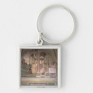 La vida de St. Benedicto (fresco) (detalle) 3 Llavero Cuadrado Plateado