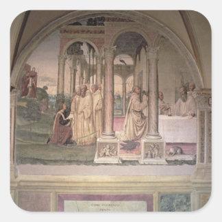 La vida de St. Benedicto (fresco) (detalle) 3 Pegatina Cuadrada