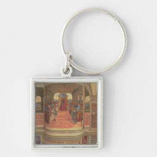 La vida de St. Benedicto (fresco) (detalle) Llavero Cuadrado Plateado