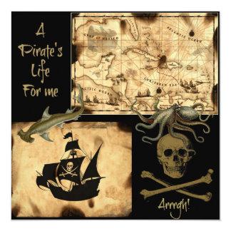 """La vida de un pirata para mí mapa del Caribe del Invitación 5.25"""" X 5.25"""""""
