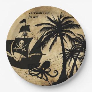 La vida de un pirata para mí nave en el mar platos de papel