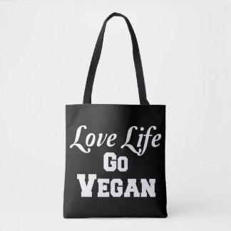 La vida del amor va bolso de totes del vegano bolsa de tela