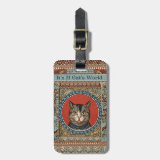 La vida del gato del vintage para los amantes del  etiquetas maletas