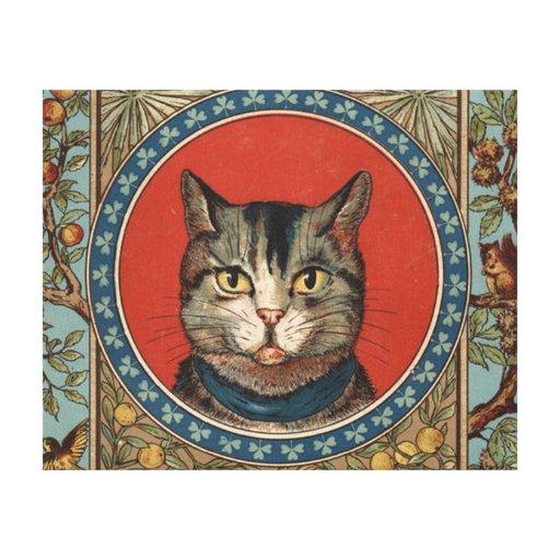 La vida del gato del vintage para los amantes del impresión en lona estirada