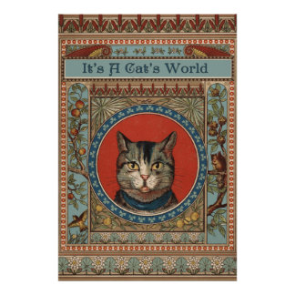 La vida del gato del vintage para los amantes del  poster