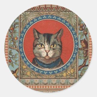 La vida del gato del vintage para los amantes del pegatina redonda