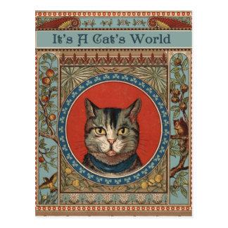 La vida del gato del vintage para los amantes del postal