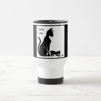 La vida del gato taza de viaje de acero inoxidable