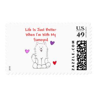 La vida del samoyedo es apenas mejor sellos postales