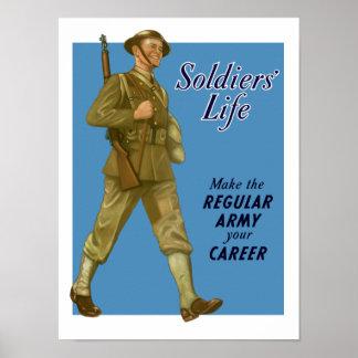 La vida del soldado - haga el ejército profesional póster
