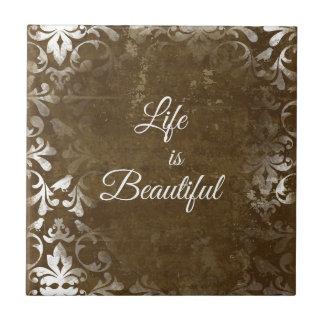La vida del vintage es cita hermosa azulejo
