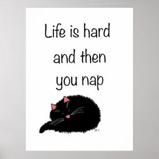 La vida difícilmente y después está usted siesta póster