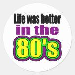 La vida era mejor en los años 80 etiquetas redondas