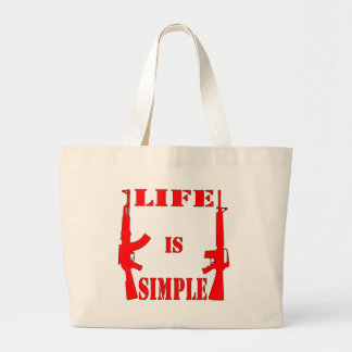 La vida es AK-47 simple AR-15 Bolsa Tela Grande
