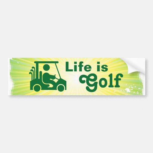 La vida es amarillo del verde del carro de golf de etiqueta de parachoque