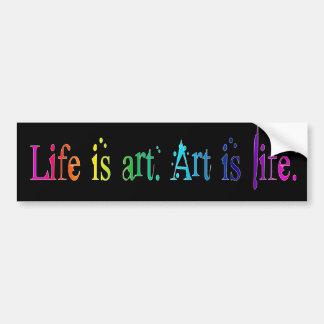 La vida es arte pegatina para auto