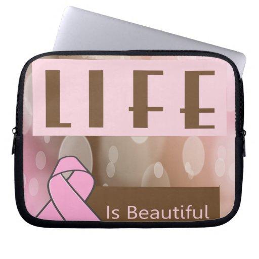 La vida es Beautiiful, superviviente del cáncer de Fundas Portátiles