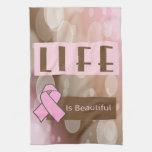 La vida es Beautiiful, superviviente del cáncer de Toallas De Mano