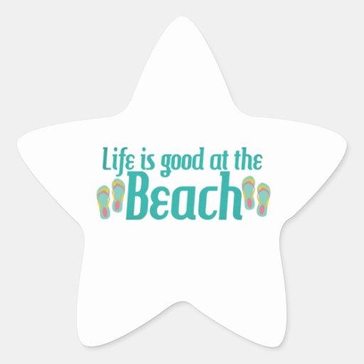 La vida es buena en la playa calcomanía forma de estrella personalizadas