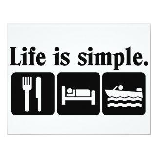 """La vida es canotaje simple invitación 4.25"""" x 5.5"""""""