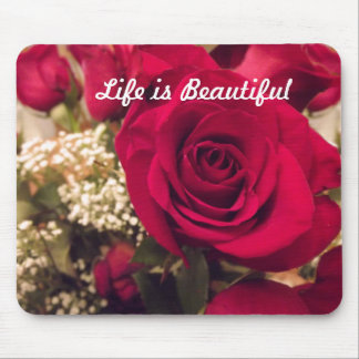 La vida es cojín de ratón hermoso de los rosas tapetes de ratones
