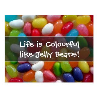 La vida es colorida como habas de jalea postales