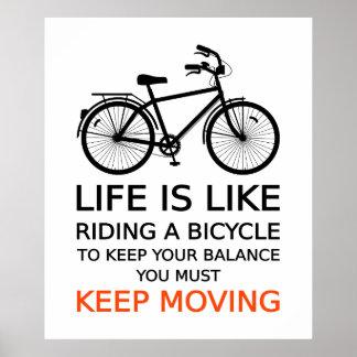 la vida es como montar una bicicleta, diseño del t póster
