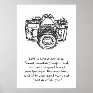 La vida es como un poster de la cita de la cámara