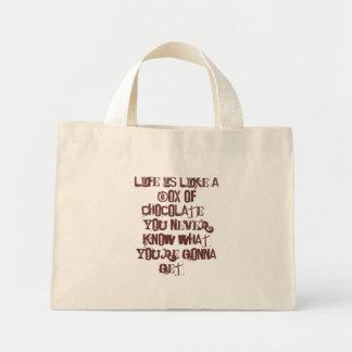La vida es como una caja de bolsos de los chocolat bolsa tela pequeña