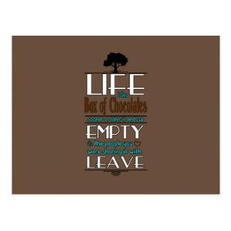 La vida es como una caja de chocolates cita la postal