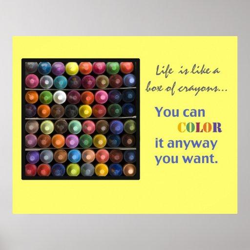 La vida es como una caja de creyones posters