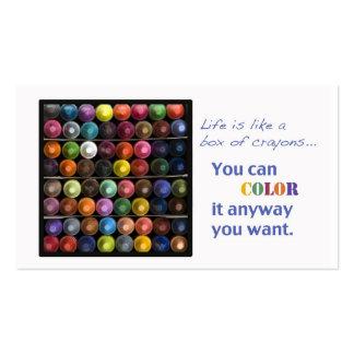 La vida es como una caja de creyones tarjetas de negocios