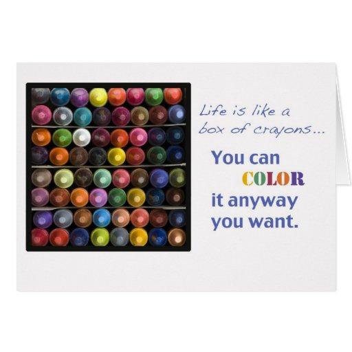 la vida es como una caja de creyones tarjetón