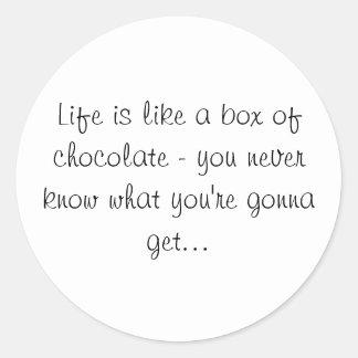 La vida es como una caja de pegatina de los