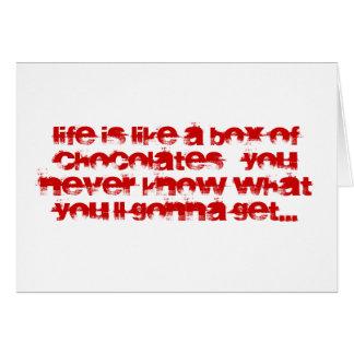 La vida es como una caja de tarjeta de nota de los