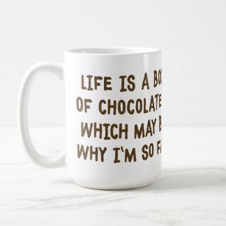La vida es como una caja de taza de los chocolates