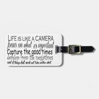 La vida es como una cámara etiquetas bolsa