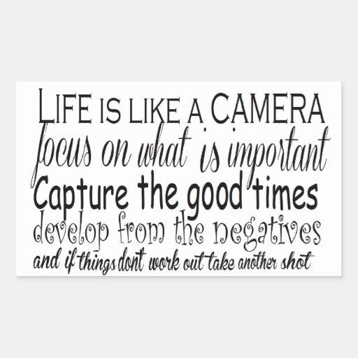 La vida es como una cámara pegatina rectangular