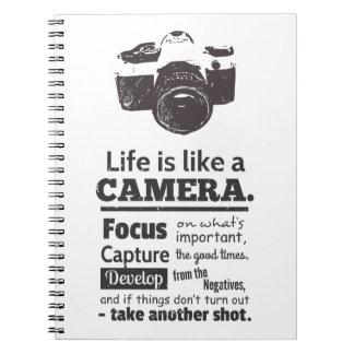 La vida es como una cita de la cámara, Grunge Libreta Espiral