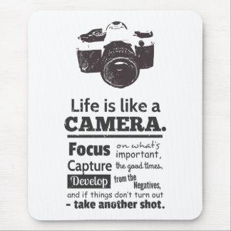La vida es como una cita de la cámara, Grunge Mouse Pads