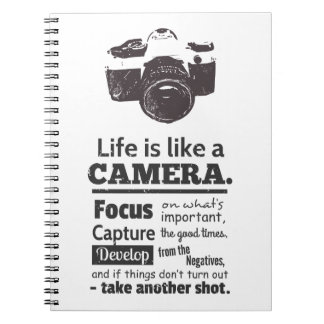 La vida es como una cita de la cámara, Grunge negr Libreta Espiral