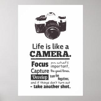 La vida es como una cita de la cámara, Grunge Póster