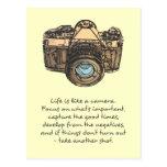 La vida es como una cita de la cámara, indie tarjetas postales