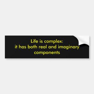 La vida es compleja pegatina para auto