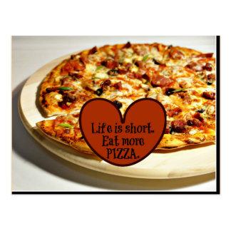 La vida es corta. Coma más pizza, Tarjetas Postales